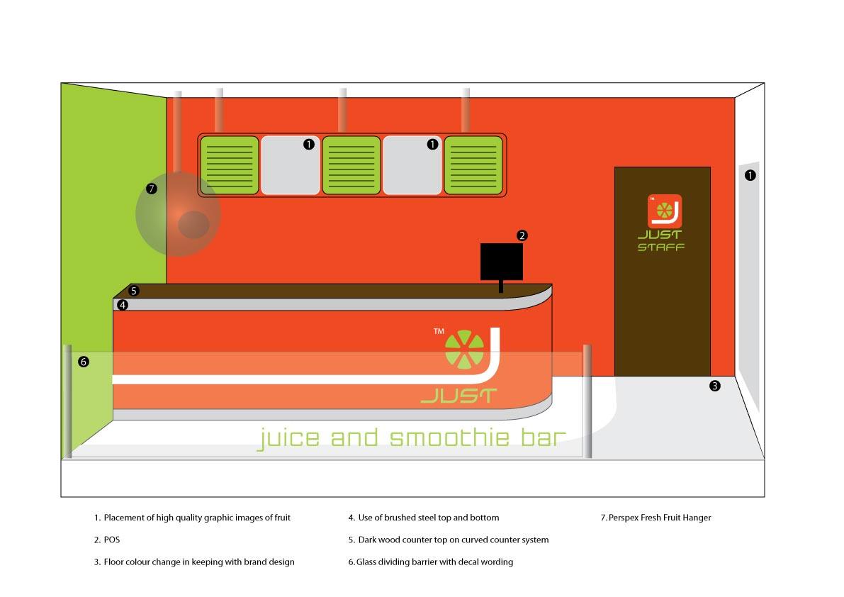 Just juice shop interior design